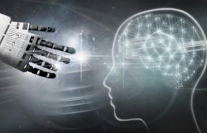 L'intelligence artificielle penser comme les humains cerveau humain et main de robot